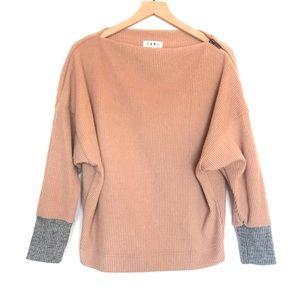 THML Ribbed Zip Shoulder Boatneck Sweater